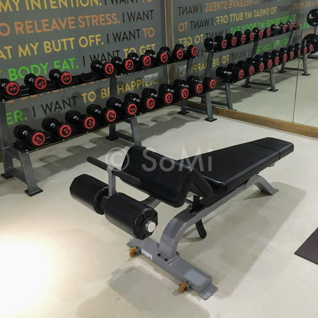 Dumbbells and sit-up bench in Fusion Suites Saigon
