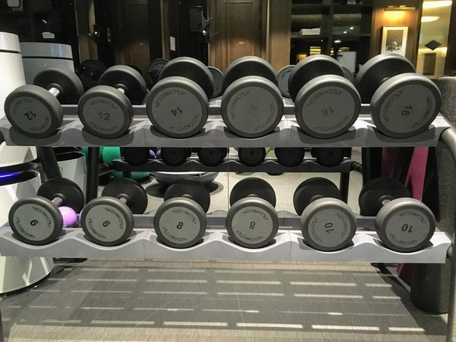 Dumbbells in the gym of Hotel Crescendo Seoul managed by Accor & Ambassador