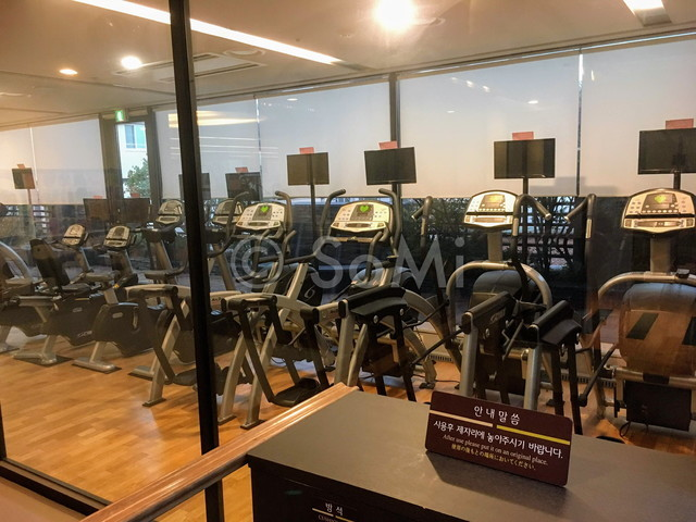 Cardio machines in the gym of Hotel Prima Seoul