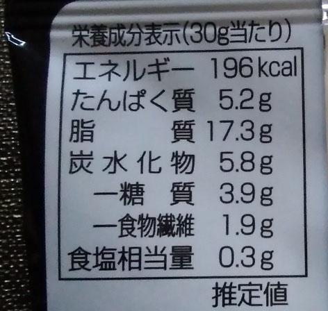 トリュフ薫るミックスナッツ栄養表示の写真