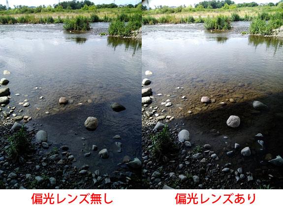 偏光レンズを使って撮影した水辺の写真
