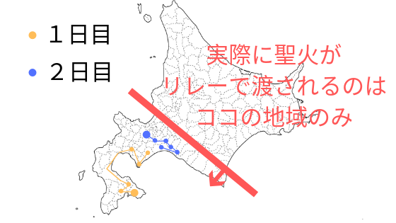 北海道の聖火リレー図解