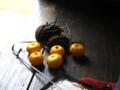 お土産に干し柿と小さなミカンを頂きました