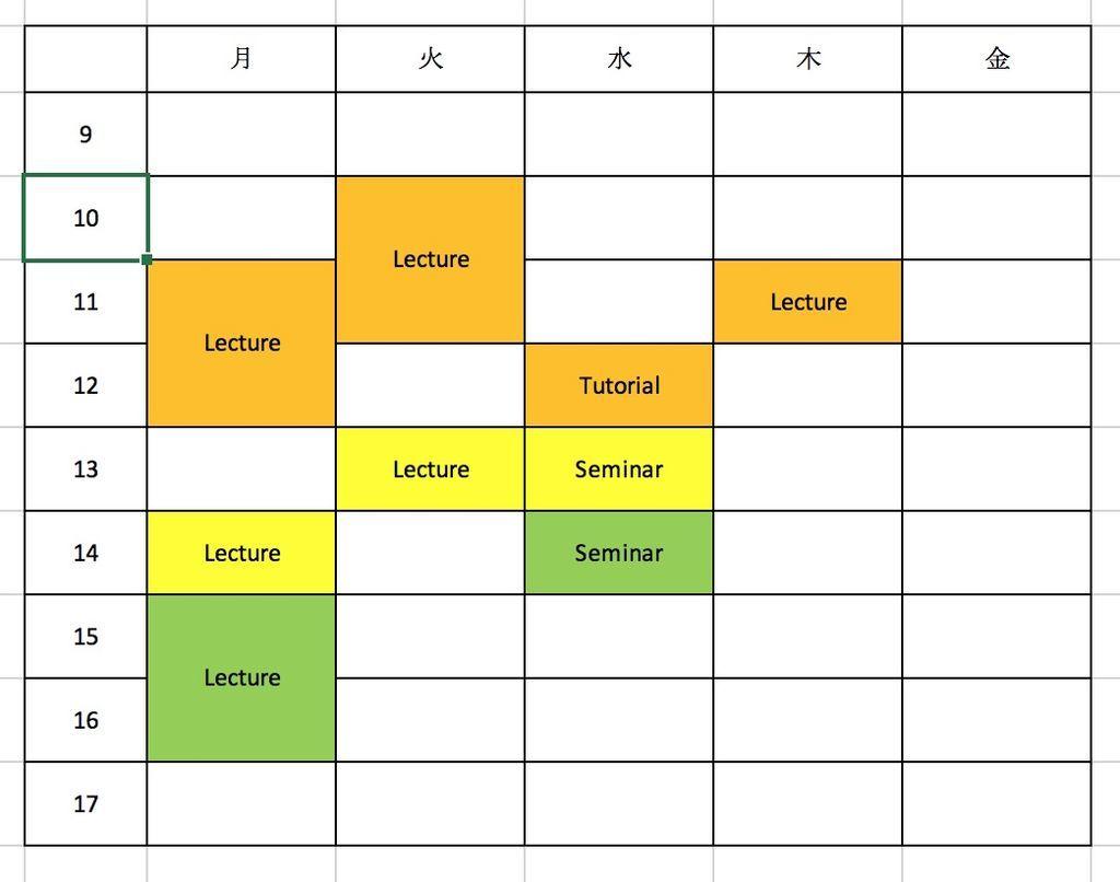 Semester 1 schedule
