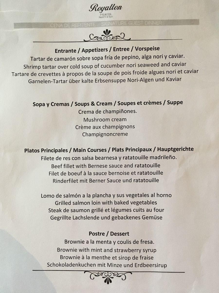Royalton Hicacos Resort & Spa restaurant menu