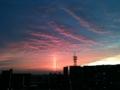 太陽柱の夕焼け