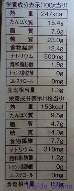 ブラン入り食パン3枚入栄養成分
