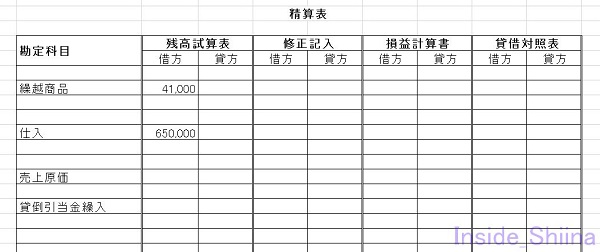 日商簿記3級精算表第147回売上原価計算1