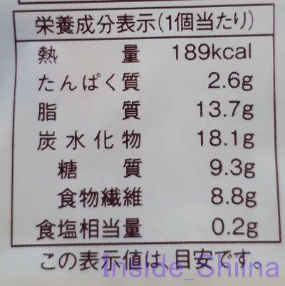ブランの焼きドーナツコーヒー栄養成分表記