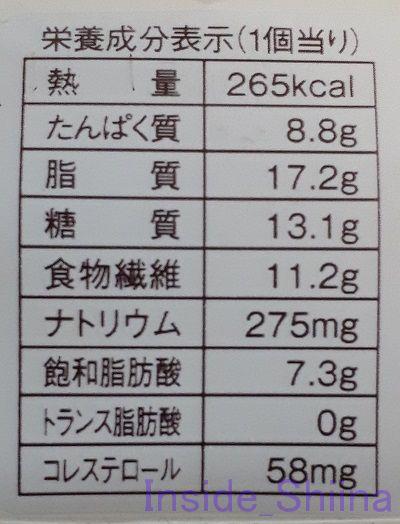 ブランのドーナツ栄養成分表記