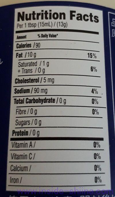 ベストフーズのリアルマヨネーズ栄養成分表示
