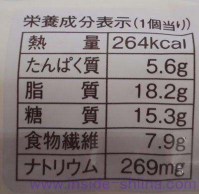 ブランのくるみ&ココナッツ~キャラメル風味~栄養成分表示
