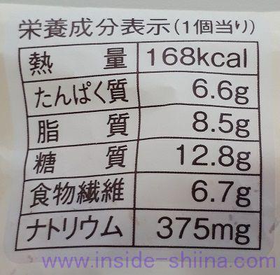 ブランのジャーマンポテトパン栄養成分表示