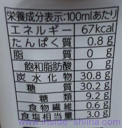 ブルドック塩分50%カット中濃ソース栄養成分表示
