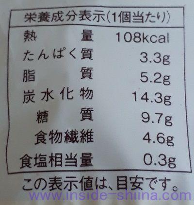 ブランのパンケーキ~メープル~2個入栄養成分表示