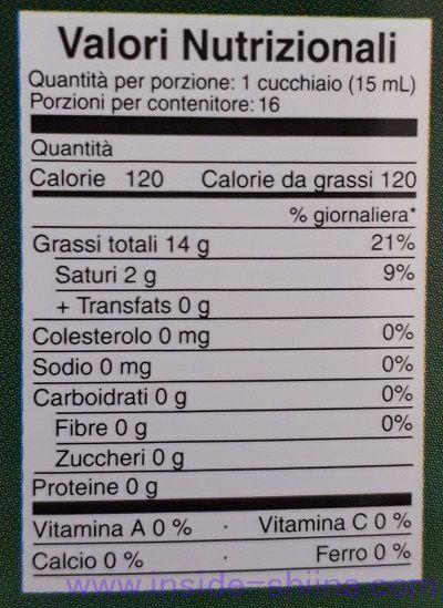 オッギュエクストラヴァージンオリーブオイル栄養成分表示