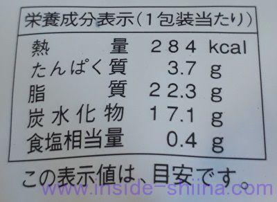 レアチーズパイシューブルーベリー栄養成分表示