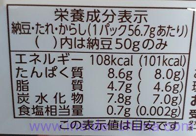 おかめ納豆極小粒栄養成分表示