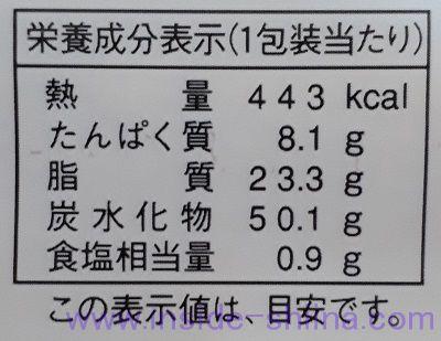 ナイススティック栄養成分表示
