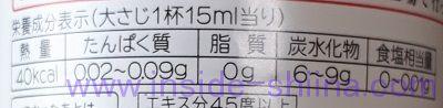 タカラ本みりん醇良栄養成分表示