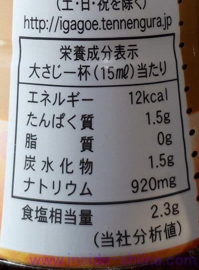 伊賀越天然醸造しょうゆ(濃口)栄養成分表示