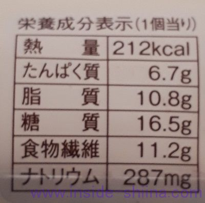 ブランの黒糖くるみフレーキー栄養成分表示