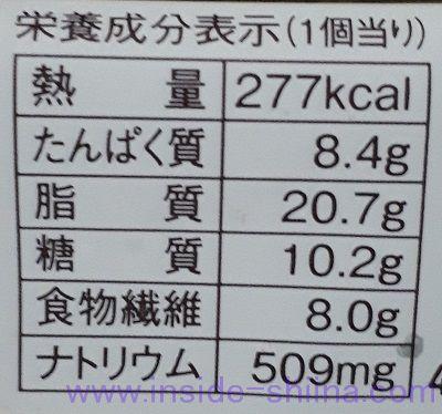 ブランのソーセージデニッシュ栄養成分表示