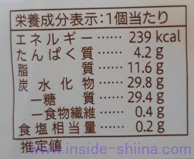 セブンカフェ ふわふわバウムクーヘン栄養成分表示