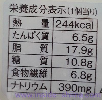 ブランのチーズデニッシュ栄養成分表示