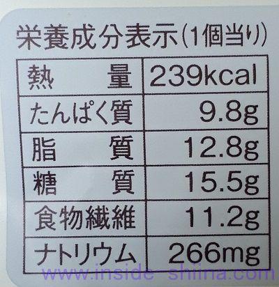 ブランのピーナッツフレーキー栄養成分表示