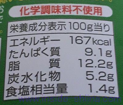 いなば チキンとタイカレーグリーン栄養成分表示