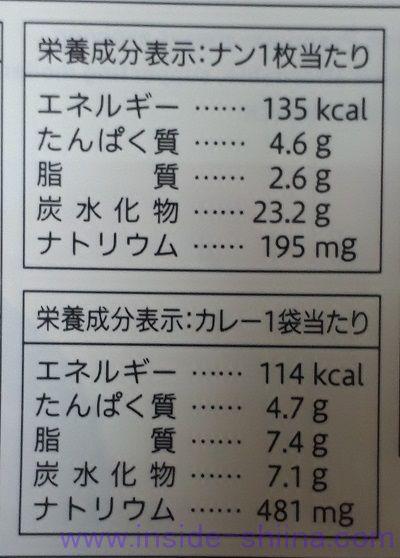 ナン&キーマカリー(セブン)栄養成分表示