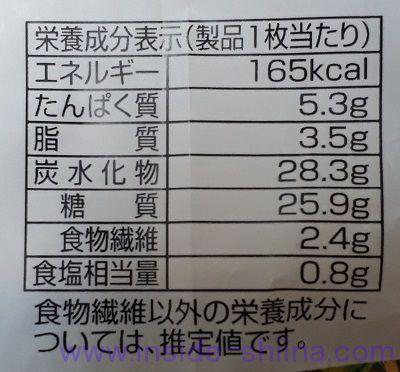 発芽米入り食パン栄養成分表示