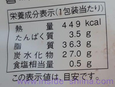 冷やして食べるフレンチクルーラー(ホイップクリーム)栄養成分表示