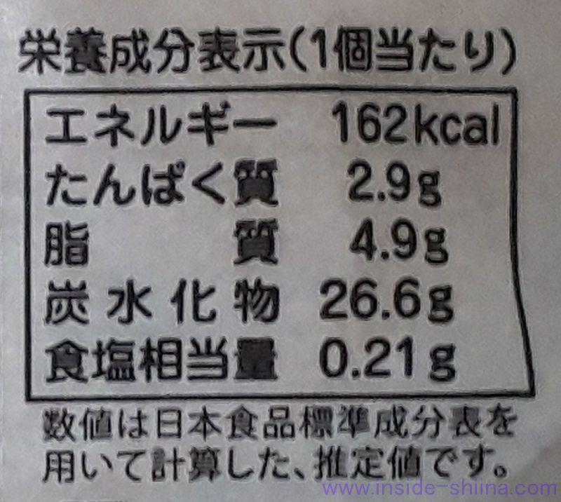 河川蒸気桃クリーム栄養成分表示