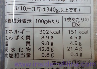 石窯くるみトースト栄養成分表示