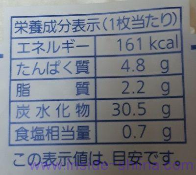 超熟山型栄養成分表示