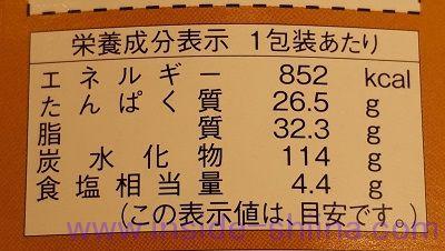 新杵屋 牛肉どまん中 栄養成分表示