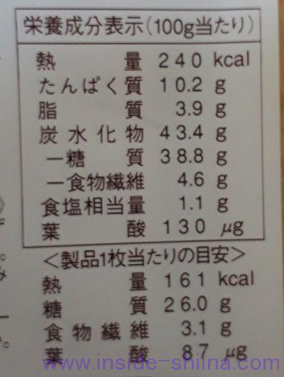 ヤマザキ ダブルソフト全粒粉 栄養成分表示