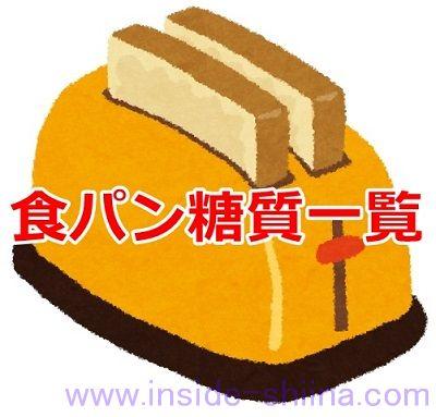 糖質制限市販の食パンの糖質一覧