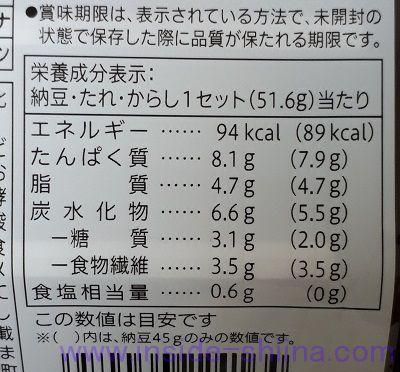 北海道産大豆小粒納豆栄養成分表示