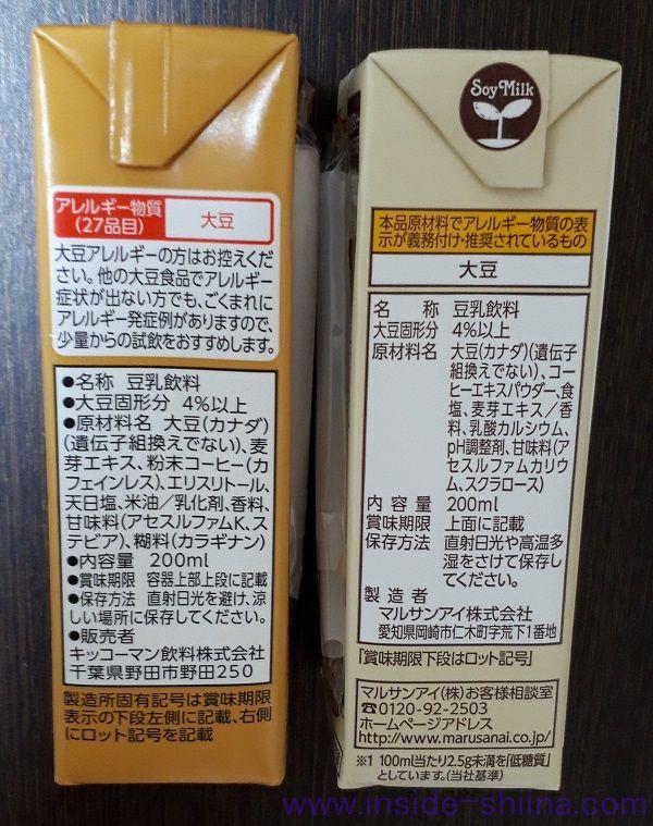 麦芽コーヒー原材料の比較