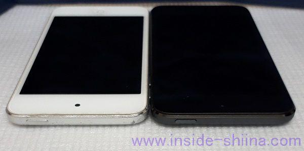 iPod Touch 5 と 7 の見た目の比較横から