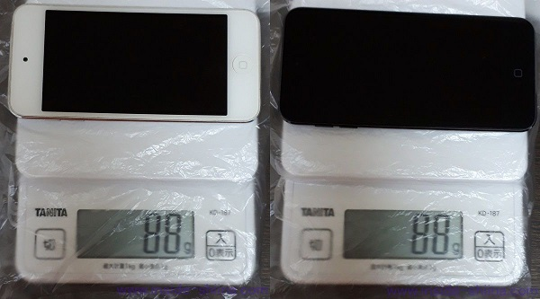 iPod Touch 5 と 7 の比較重さ