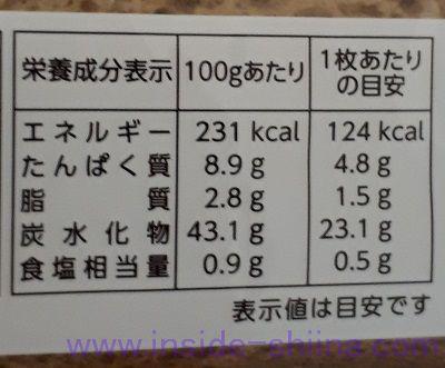 石窯玄米ブレッド(タカキベーカリー)栄養成分表示