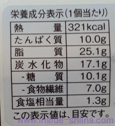 ブランのハムマヨデニッシュ栄養成分表示