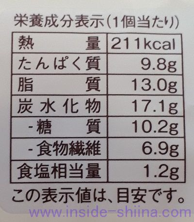 ブランのしらすチーズパン栄養成分表示