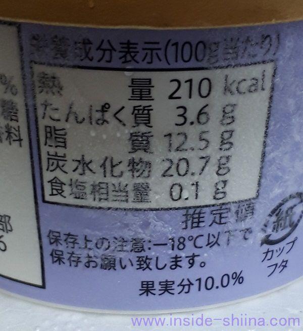 乳蔵「北海道アイスクリーム」ハスカップのカロリー、炭水化物(≒糖質)