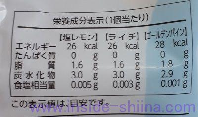 OHAYO プチソルベ栄養成分表示