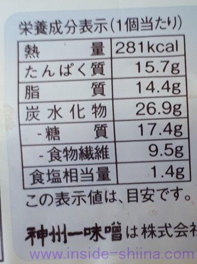 ブランの肉味噌サラダチキンパン栄養成分表示